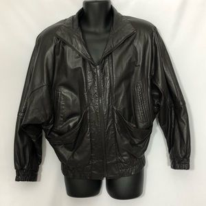 G3 NEW YORK dark brown leather bomber jacket